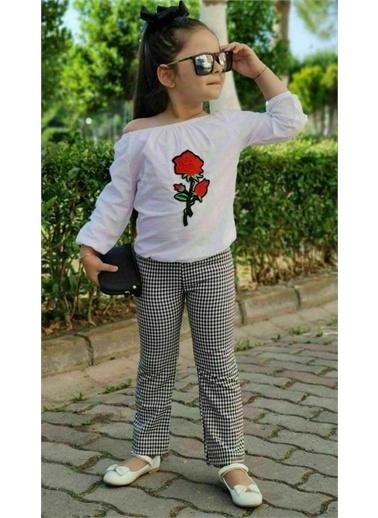 Riccotarz Kız Çocuk Gül Detaylı Ekoseli Pantolonlu Takım Renkli